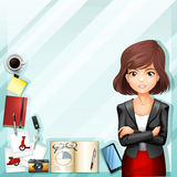 Office worker and stationaries Stock Photos
