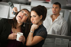 Office Worker Strangles a Woman Stock Photo