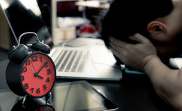 Office worker stress out on deadline Stock Images