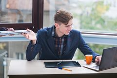 Office worker successful business man lifestyle. Office worker. Successful business man lifestyle. Busy working day Stock Photo