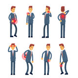 Office Worker Syndrome Sick Business Man Pain Set Collection. Flat Vector Illustration Royalty Free Stock Images