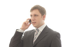 Office worker talking on a mobile phone. Isolated object Royalty Free Stock Photography