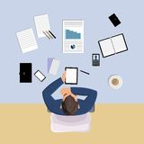 Office worker top view Royalty Free Stock Photos