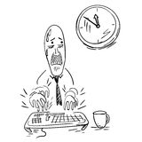 An office worker trying to meet his deadline. EPS10 vector illustration Royalty Free Stock Photo