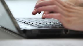 Office worker uses laptop close-up.  stock video footage