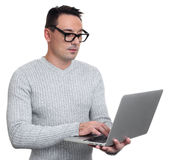 Office worker using laptop on white background Royalty Free Stock Images