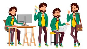 Office Worker Vector. Face Emotions, Various Gestures. Adult Business Male. Successful Corporate Officer, Clerk, Servant. Office Worker Vector. In Action. Face Stock Photography