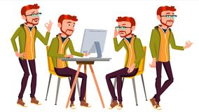 Office Worker Vector. Businessman Worker. Lifestyle. Animated Elements. Poses. Red Head, Ginger. Front, Side View. Happy. Office Worker Vector. Poses. Face Stock Images