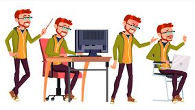 Office Worker Vector. Face Emotions, Various Gestures. Red Head, Ginger. Business Human. Smiling Manager, Servant. Office Worker Vector. Businessman Worker Royalty Free Stock Photos