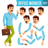 Office Worker Vector. Emotions, Gestures. Animation Creation Set. Business Person. Career. Modern Employee, Workman. Office Worker Vector. Face Emotions Royalty Free Stock Photography