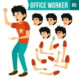 Office Worker Vector. Face Emotions, Various Gestures. Animation Creation Set. Adult Business Male. Successful Corporate. Office Worker Vector. Face Emotions Royalty Free Stock Photos