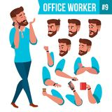 Office Worker Vector. Face Emotions, Various Gestures. Animation Creation Set. Adult Entrepreneur Business Man. Happy. Office Worker Vector. Face Emotions Stock Image
