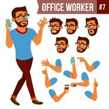 Office Worker Vector. Face Emotions, Various Gestures. Animation Creation Set. Business Man. Professional Cabinet. Office Worker Vector. Face Emotions, Various Stock Photos