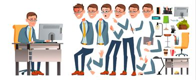 Office Worker Vector. Face Emotions, Various Gestures. Animation Creation Set. Business Man. Professional Cabinet. Workman, Officer, Clerk. Isolated Cartoon royalty free illustration