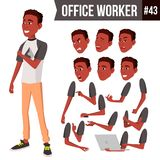 Office Worker Vector. Face Emotions, African, Black. Various Gestures. Animation Creation Set. Business Person. Career. Office Worker Vector. Face Emotions stock illustration