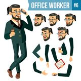 Office Worker Vector. Face Emotions, Various Gestures. Animation Creation Set. Businessman Worker. Happy Job. Partner. Office Worker Vector. Face Emotions Royalty Free Stock Photos