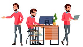 Office Worker Vector. Face Emotions, Various Gestures. Business Human. Smiling Manager, Servant, Workman, Officer. Flat. Office Worker Vector. Face Emotions Royalty Free Stock Photo