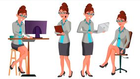 Office Worker Vector. Woman. Happy Clerk, Servant. Employee. Business Human. Secretary. In Action. Front, Side View stock illustration