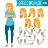 Office Worker Vector. Woman. Happy Clerk, Servant, Employee. Business Human. Face Emotions, Various Gestures. Animation. Office Worker Vector. Woman. Happy Clerk Stock Photo