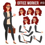 Office Worker Vector. Woman. Happy Clerk, Servant, Employee. Business Woman Person. Lady Face Emotions, Various Gestures. Office Worker Vector.Woman. Successful Royalty Free Stock Photos