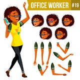 Office Worker Vector. Woman. Modern Employee, Laborer. Business Woman. Face Emotions, Various Gestures. Animation. Office Worker Vector. Woman. Smiling Servant Stock Images
