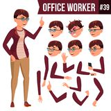 Office Worker Vector. Woman. Professional Officer, Clerk. Adult Business Female. Lady Face Emotions, Various Gestures stock illustration