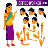 Office Worker Vector. Woman. Professional Officer, Clerk. Businessman Female. Lady Face Emotions, Various Gestures royalty free illustration
