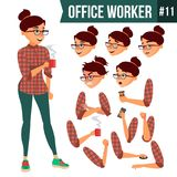 Office Worker Vector. Woman. Professional Officer, Clerk. Adult Business Female. Lady Face Emotions, Various Gestures. Office Worker Vector. Woman. Successful Stock Photos