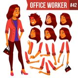 Office Worker Vector. Woman. Professional Officer, Clerk. Businessman Female. Arab, Saudi Lady Face Emotions, Various stock illustration