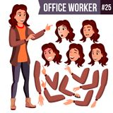 Office Worker Vector. Woman. Professional Officer, Clerk. Businessman Female. Lady Face Emotions. Animation Set stock illustration