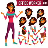 Office Worker Vector. Arab, Saudi Woman. Business Person. Face Emotions, Gestures. Animation Creation Set. Flat Cartoon vector illustration