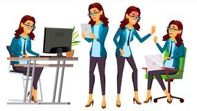 Office Worker Vector. Woman. Servant, Employee. Front, Side View. Poses. Business Woman Person. Accountant. Lady. Office Worker Vector. Woman. Successful Officer vector illustration