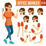 Office Worker Vector.Woman. Successful Officer, Clerk, Servant. Adult Business Woman. Face Emotions, Various Gestures. Office Worker Vector. Woman. Professional Stock Image