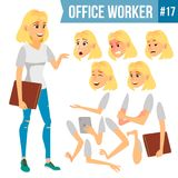 Office Worker Vector. Woman. Successful Officer, Clerk, Servant. Business Woman Worker. Face Emotions, Various Gestures. Office Worker Vector. Woman. Happy Clerk Royalty Free Stock Image