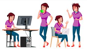 Office Worker Vector. Woman. Successful Officer, Clerk, Servant. Business Woman Worker. Face Emotions, Gestures. Office Worker Vector. Woman. Business Person Royalty Free Stock Photos