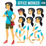 Office Worker Vector. Woman. Successful Officer, Clerk, Servant. Business Woman Worker. Face Emotions, Gestures. Office Worker Vector. Woman. Professional Stock Images