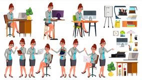 Office Worker Vector. Woman. Successful Officer, Clerk, Servant. Poses. Situations. Secretary. Business Woman Worker. Office Worker Vector. Woman. Happy Clerk vector illustration