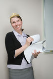 Office worker wearing a tiara Royalty Free Stock Images