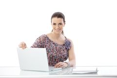 Office worker woman with computer Royalty Free Stock Image