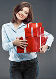 Office worker woman hold red gift. Stock Image