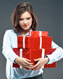 Office worker woman hold red gift. Stock Images