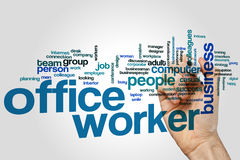 Office worker word cloud. Concept on grey background Stock Images