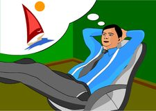 Office worker during work dreaming about vacation and the rest of the sea royalty free illustration