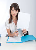 Office worker with your message Stock Images