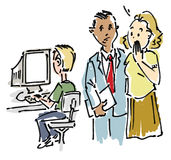 Office workers. An illustration of office workers and a guy working on a computer Royalty Free Stock Photography