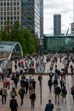 Office Workers And Modern Glass Architecture Of The Canary Wharf Business Area. London. UK September 2019, England Stock Photography