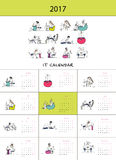 Office workers, calendar 2017 design. Vector illustration Royalty Free Stock Images