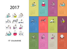 Office workers, calendar 2017 design Stock Image