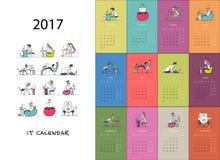 Office workers, calendar 2017 design. Vector illustration Stock Image