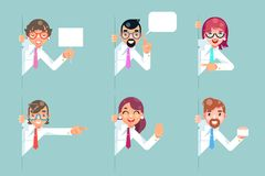 Office workers cartoon support help business consultation advice looking out corner characters set solution flat design. Office workers cartoon support help vector illustration